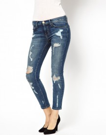 Current Elliott Slim Boyfriend Jeans With Distressing