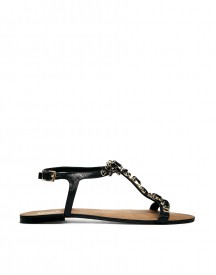 Dune Khloe Gem Embellished Black Flat Sandals