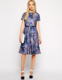 Fashion Union Scuba Midi Skirt In Palm Print