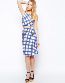 Fashion Union Textured Pencil Skirt In Check Print