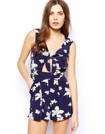 Lashes of London Print Playsuit With Cut-Out Detail