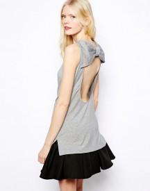 Love Moschino Sleeveless Backless Jersey Top with Bow Detail