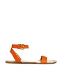 Pieces Carla Clear Coral Leather Flat Sandals