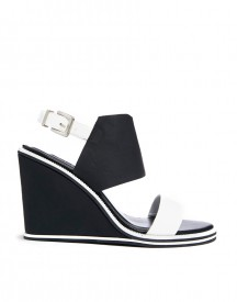 Senso Olive White/ Black Colour Block Wedge Sandals