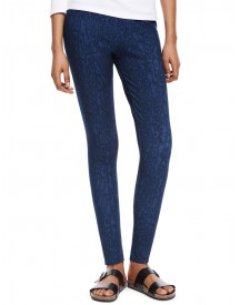 Denim legging met abstracte print