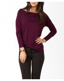 Zippered Cowl Neck Top