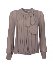Blouse Bow Tie Taupe