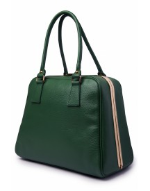 60s Chic Suitcase Handbag in Green genuine leather