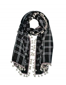 Checked Tassels Scarf