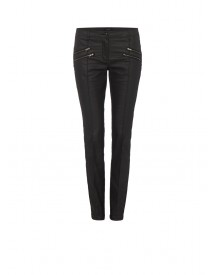 Opus Eddana coated slim fit broek in zwart