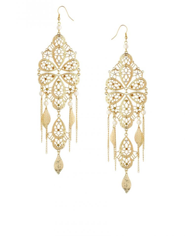 PRODUCT_IMAGE ASOS Filigree Faux Pearl Chandelier Earrings