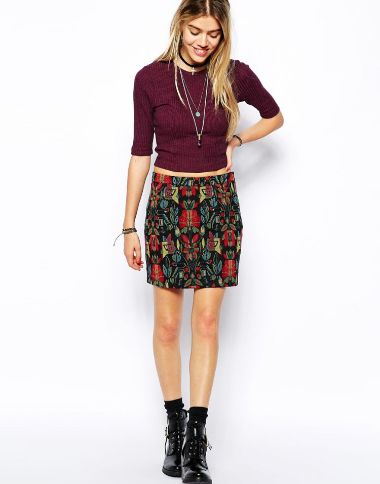 PRODUCT_IMAGE Glamorous A-Line Skirt in Folk Embroidered Pattern