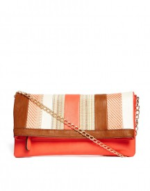 ALDO Gudino Straw Panel Fold Over Clutch