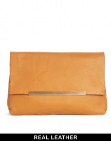 ASOS Leather Soft Clutch Bag With Metal Bar