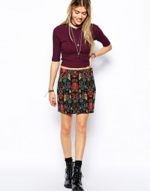 Glamorous A-Line Skirt in Folk Embroidered Pattern