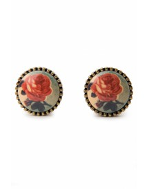 Like a Rose Painting Earstuds Vintage Bronze